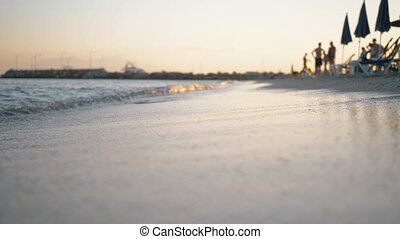 lavage, recours, rivage, coucher soleil, mer, vagues