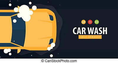 lavage, service., foam., voiture, soi, laver, vecteur, illustration.