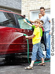lavage, voiture., famille, heureux