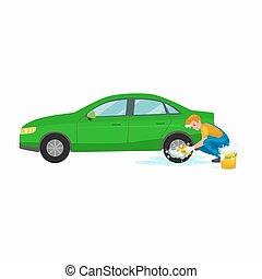 nettoyage voiture lavage auto automobile vide s cher vecteur search clip art. Black Bedroom Furniture Sets. Home Design Ideas