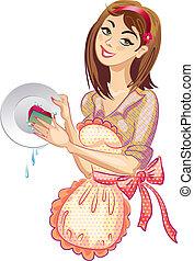 lavagem, a, dishes., detergentes