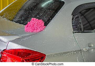 lavagem carro, com, espuma