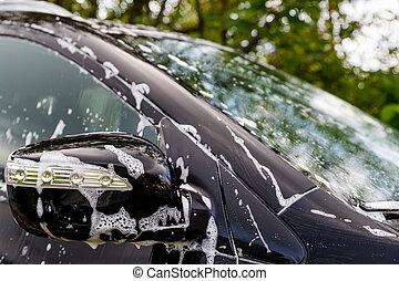 lavagem carro, com, soap.car, lavando, processo, de, luxo, pretas, car, cheio, coberto, com, branca, espuma, e, bubbles.modern, car, coberto, com, espuma, carro, wash.selective, focus.copy, espaço
