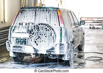 lavagem carro, espumar, wash., a, car, é, backwards.