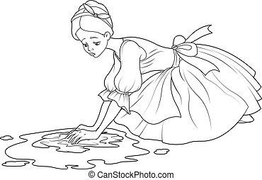 lavagem, cinderela, triste, chão