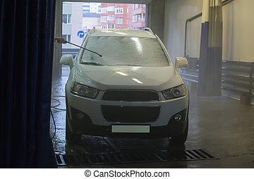 lavagem, coberto, espuma, car