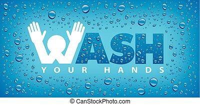 lavagem, muitos, água, hands-blue, fundo, gotas, seu