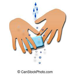 lavagem, seu, mãos