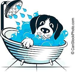 lavagens, banheiro, cão, cute