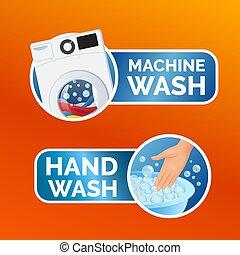 lavaggio, colorito, set, adesivo, vestiti, illustrazione, mano, macchina, lavare, vettore, etichetta, istruzioni, icona, simbolo, isolated.