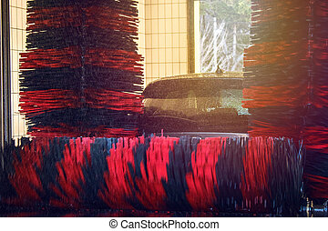 lavaggio i automobile, automobile, automatico, spazzola, lavare, schiuma, acqua