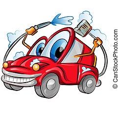 lavaggio i automobile, carattere, cartone animato, sopra, fondo, white.