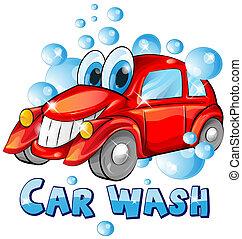 lavaggio i automobile, cartone animato, isolato, bianco