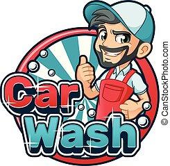 lavaggio i automobile, cartone animato, logotipo
