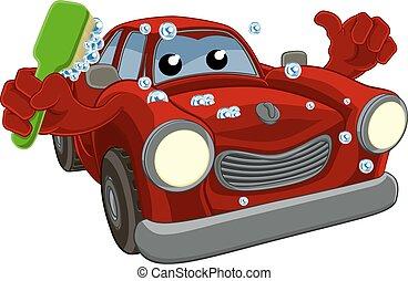lavaggio i automobile, cartone animato, mascotte