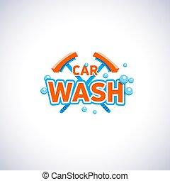 lavaggio i automobile, cartone animato, stile, emblema, con, bolle, e, mocio, isolato, vettore, logotipo, template., pulizia, servizio, ditta, logotype.