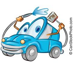lavaggio i automobile, cartone animato