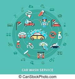 lavaggio i automobile, composizione, rotondo