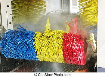 lavaggio i automobile, durante, il, lavoro