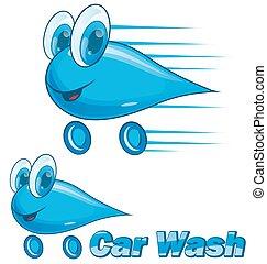 lavaggio i automobile, gocciolamento, cartone animato, isolato, bianco