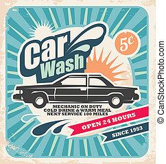 lavaggio i automobile, retro, manifesto