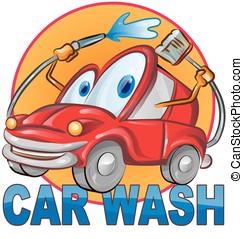 lavaggio i automobile, simbolo, cartone animato, isolato, bianco