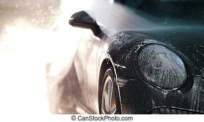 lavaggio, servizio, auto, lavoratore, acqua, macchina lusso...