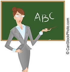 lavagna, abc, insegnante, femmina, mostra, puntatore