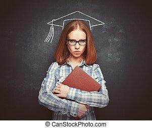 lavagna, berretto, libro, studente, ragazza, occhiali
