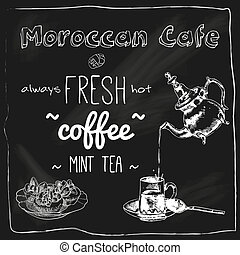 lavagna, caffè, teiera, marocchino, tazza