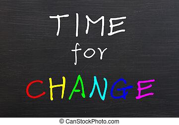 lavagna, cambiamento, parole, colorito, tempo