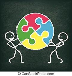 lavagna, cerchio, 2, stickman, puzzle