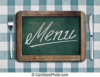 lavagna, con, menu, testo, su, tavola