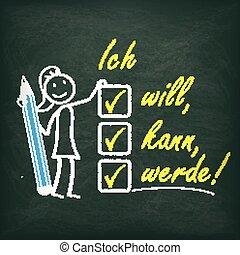lavagna, lista, motivazione, stickwoman