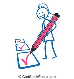 lavagna, lista, penna, stickwoman, rosa
