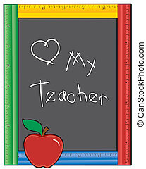 lavagna, mio, insegnante, amore, righello