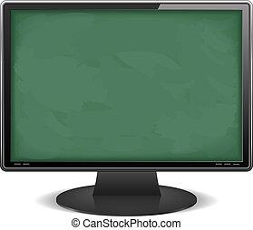 lavagna, monitor computer, fondo
