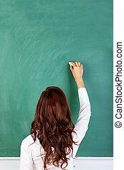 lavagna, o, insegnante, studente, scrittura