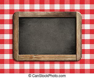 lavagna, o, lavagna, su, picnic, tovaglia