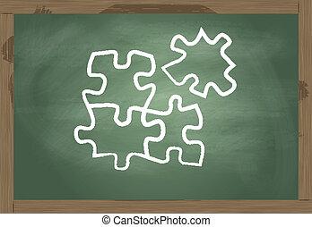 lavagna, puzzle, vettore, soluzione