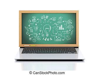 lavagna, schizzo, 3d, laptop, creativo