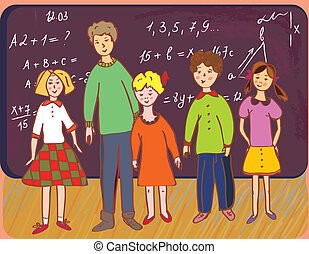 lavagna, scolari, insegnante