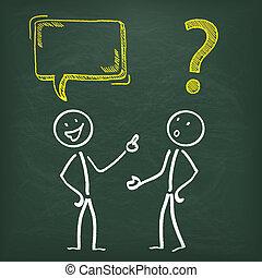 lavagna, stickman, 2, comunicazione, problema