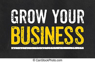 lavagna, tuo, crescere, affari, testo