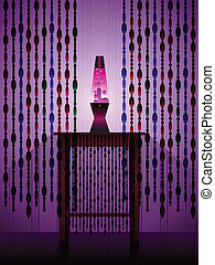 lavalamp, cortinas, beaded