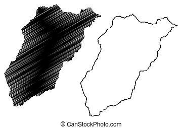 Lavalleja Department (Departments of Uruguay, Oriental Republic of Uruguay) map vector illustration, scribble sketch Lavalleja map