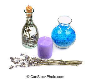 lavanda, aromatico, isolato, acqua, fondo, candela, bianco, sale
