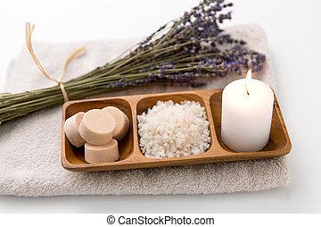 lavanda, candela, asciugamano bagno, mare, sapone, sale