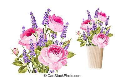 lavanda, rosa, bouquet.