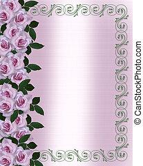 lavande, roses, invitation mariage